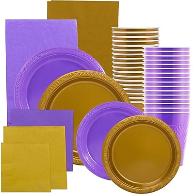 JAM Paper Party Supply Assortment, Purple & Gold Grad Pack, Plates (2 Sizes), Napkins (2 Sizes), Cups & Tablecloths, 12 Total 2478241