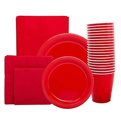 JAM Paper Party Supply Assort, Red, Plates (2 Sizes), Napkins (2 Sizes), Cups (1 pack) & Tablecloth (1 pack), 6 Items Total