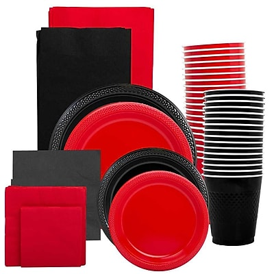 JAM Paper Party Supply Assortment, Red & Black Grad Pack, Plates (2 Sizes), Napkins (2 Sizes), Cups & Tablecloths, 12 Total