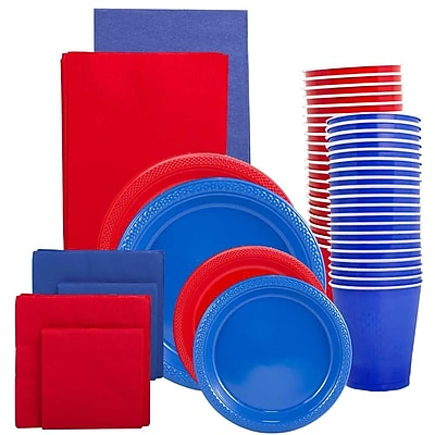 JAM Paper® Party Supply Assortment, Red & Blue Grad Pack, Plates (2 Sizes), Napkins (2 Sizes), Cups & Tablecloths, 12 Total