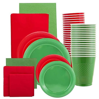 JAM Paper Party Supply Assortment, Red & Green Grad Pack, Plates (2 Sizes), Napkins (2 Sizes), Cups & Tablecloths, 12 Total