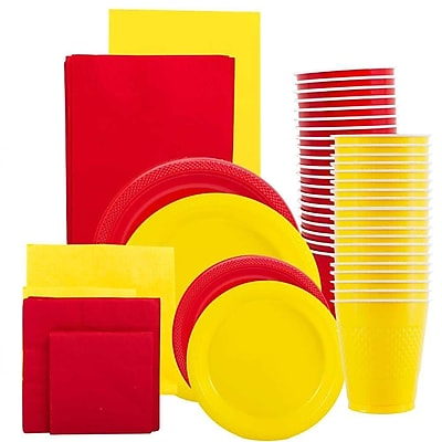 JAM Paper Party Supply Assortment, Red & Yellow Grad Pack, Plates, Napkins, Cups & Tablecloths, 12 Total