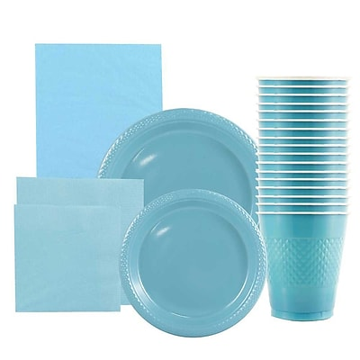 JAM Paper® Party Supply Assort, Sea Blue, Plates (2 Sizes), Napkins (2 Sizes), Cups (1pk) & Tablecloth (1pk), 6 Items Total