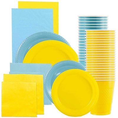 JAM Paper Party Supply Assort, Sea Blue & Yellow Grad Pack, Plates (2sizes), Napkins (2sizes), Cups & Tablecloths, 12 Total