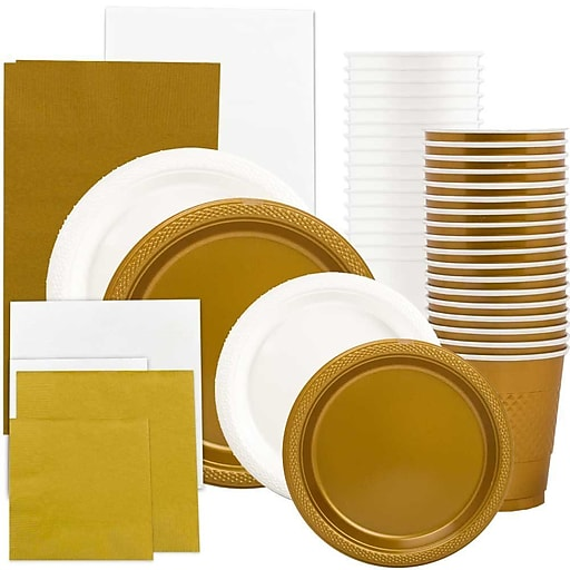 JAM Paper® Party Supply Assortment, White & Gold, Plates (2 Sizes), Napkins (2 Sizes), Cups & Tablecloths, 12/Set (225PP2wgl)