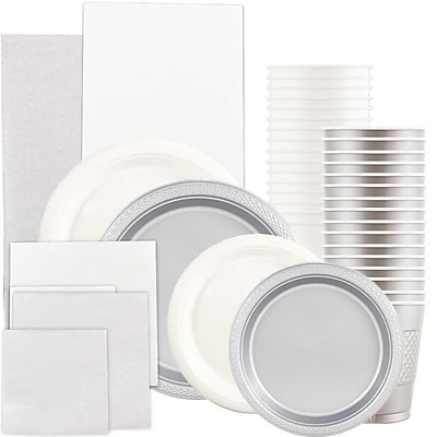 JAM Paper Party Supply Assortment, White & Silver Grad Pack, Plates (2 Sizes), Napkins (2 Sizes), Cups & Tablecloths, 12 Total 2478227