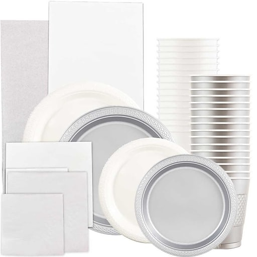 JAM Paper® Party Supply Assortment, White & Silver, Plates (2 Sizes), Napkins (2 Sizes), Cups & Tablecloths, 12/Set (225PP2wsl)