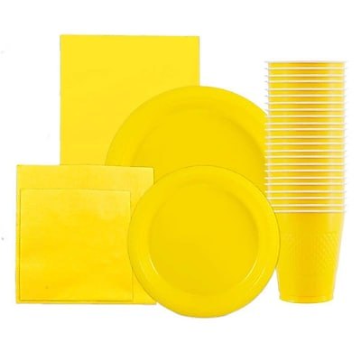 JAM Paper Party Supply Assortment, Yellow, Plates, Napkins, Cups (1pk) & Tablecloth (1pk), 6 Items Total