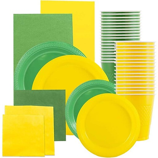 JAM Paper® Party Supply Assortment, Yellow & Green, Plates (2 Sizes), Napkins (2 Sizes), Cups & Tablecloths, 12/Set (225PP2gy)