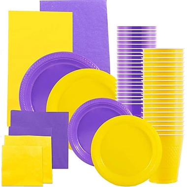 JAM Paper® Party Supply Assortment, Yellow & Purple Grad Pack, Plates, Napkins, Cups & Tablecloths