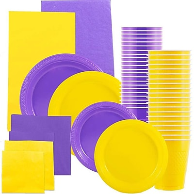 JAM Paper Party Supply Assort, Yellow & Purple Grad Pack, Plates (2 Sizes), Napkins (2 Sizes), Cups & Tablecloths, 12 Total