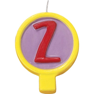 JAM Paper® Birthday Number Candles, # 2 Rounded Number Candle, 2 1/2