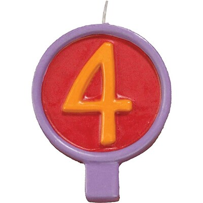 JAM Paper® Birthday Number Candles, # 4 Rounded Number Candle, 2 1/2