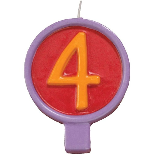 """JAM Paper® Birthday Number Candles, # 4 Rounded Number Candle, 2 1/2"""" x 1 3/4"""", Sold Individually"""