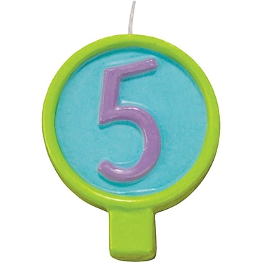 JAM Paper® Birthday Number Candles, # 5 Rounded Number Candle, 2 1/2