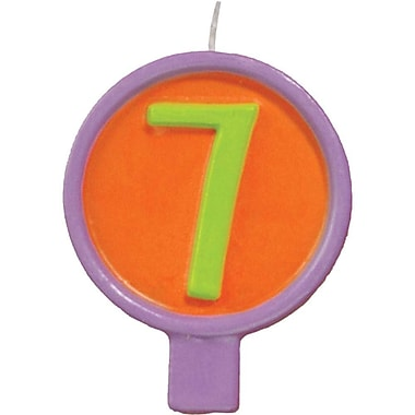 JAM Paper® Birthday Number Candles, # 7 Rounded Number Candle, 2 1/2