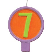 """JAM Paper® Birthday Number Candles, # 7 Rounded Number Candle, 2 1/2"""" x 1 3/4"""""""