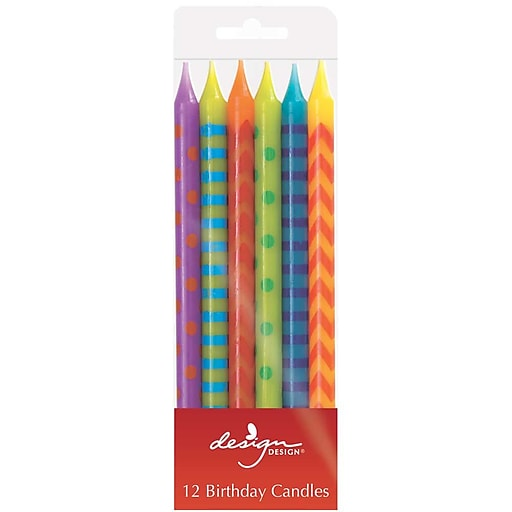 JAM Paper® Birthday Candle Sticks, 4 x 1/4, Multi-Color Assortment, 12/Pack (52675607284)