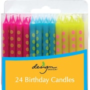 "JAM Paper® Birthday Candle Sticks, Polka Dot Design Candles, 2 3/8"" x 1/4"", Blue, Fuchsia & Yellow with Stripes, 24/pack"