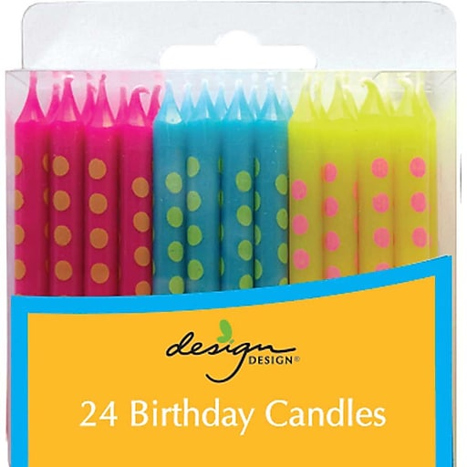 JAM PaperR Birthday Candle Sticks Polka Dot Design Candles 2 3 8 X 1 4 Blue Fuchsia Yellow With Stripes 24 Pack