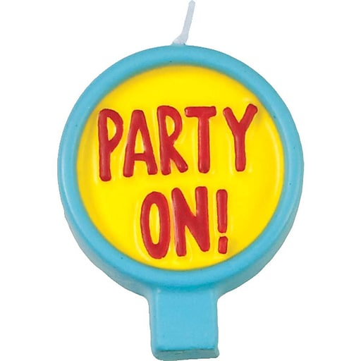 """JAM Paper® Rounded Message Candles, ' Party On! ' Round Birthday Candle, 2 1/2"""" x 1 3/4"""", Sold Individually"""