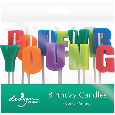 JAM Paper® Specialty Birthday Candles, ' Forever Young ' Birthday Candle Set, 2 3/4