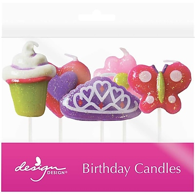JAM Paper® Specialty Birthday Candles, Glitter Press Birthday Candle Set, 2 3/4