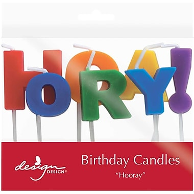 JAM Paper® Specialty Birthday Candles, ' Hooray ! ' Birthday Candle Set, 2 3/4