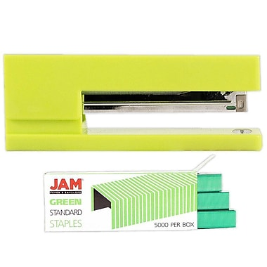 JAM Paper® Office & Desk Sets, Stapler Pack of Staples, Lime Green and Green (3375GRGR)