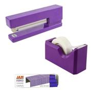 JAM Paper® Office & Desk Sets, (1) Tape Dispenser (1) Stapler (1) Pack of Staples, Purple, 3/pack