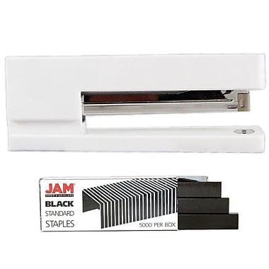 JAM Paper – Ensemble de travail et de bureau, agrafeuse et boîte d'agrafes, blanc et noir (3375WHBK)