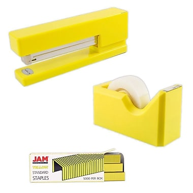 JAM Paper® Office & Desk Sets, Tape Dispenser Stapler Pack of Staples, Yellow