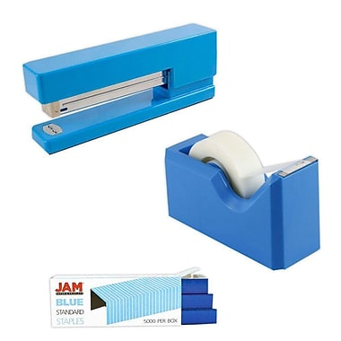 JAM Paper® Office & Desk Sets, Tape Dispenser Stapler Pack of Staples, Blue (33758BL)