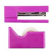 JAM Paper® Office & Desk Sets, 1 Stapler & 1 Tape Dispenser, Fuchsia Pink, 2/Pack (3378pi)