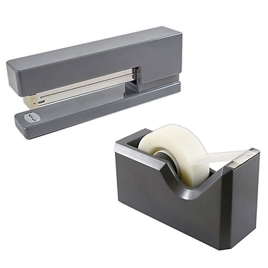 JAM Paper® Office & Desk Sets, Stapler Tape Dispenser, Grey (3378GY)