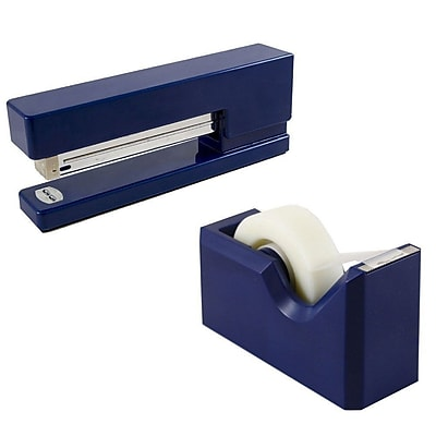 JAM Paper® Office & Desk Sets, (1) Stapler (1) Tape Dispenser, Navy and Blue, 2/pack