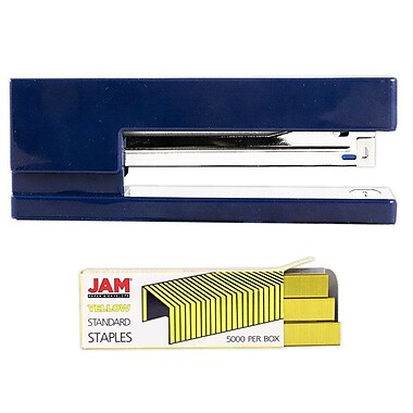 JAM Paper® Office & Desk Sets, (1) Stapler (1) Pack of Staples, Navy and Yellow, 2/pack