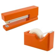 JAM Paper® Office & Desk Sets, (1) Stapler (1) Tape Dispenser, Orange, 2/pack