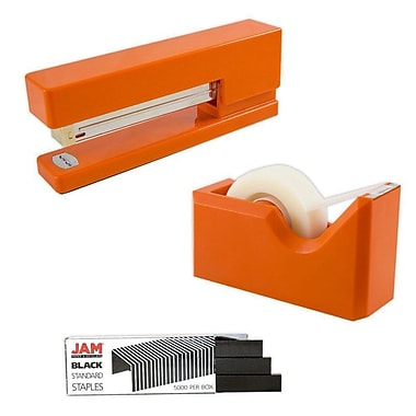 JAM Paper® Office & Desk Sets, Tape Dispenser Stapler Pack of Staples, Orange and Black (33758ORBK)