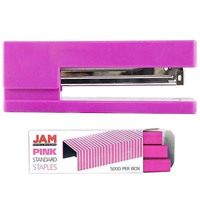 JAM Paper® Office & Desk Sets, (1) Stapler (1) Pack of Staples, Pink, 2/pack