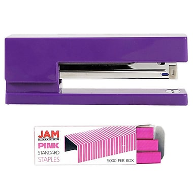 JAM Paper® Office & Desk Sets, Stapler Pack of Staples, Purple and Pink (3375PUPI)