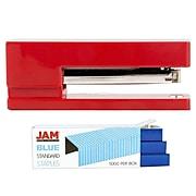JAM Paper® Office & Desk Sets, 1 Red Stapler & 1 Pack of Blue Staples, 2/Pack (3375rebu)