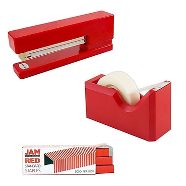 JAM Paper® Office & Desk Sets, (1) Tape Dispenser (1) Stapler (1) Pack of Staples, Red, 3/pack