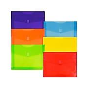 JAM Paper® Plastic Envelopes with Hook & Loop Closure, Letter Size, Assorted Colors, 6/Pack (218V2OLIPRYS)