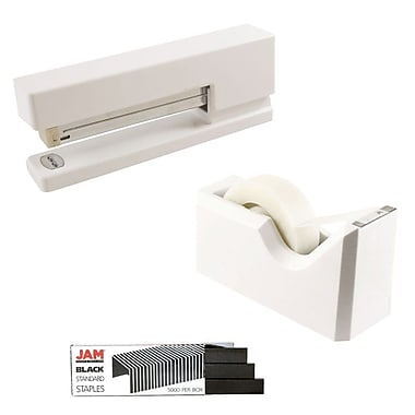 JAM Paper® Office & Desk Sets, Tape Dispenser Stapler Pack of Staples, White and Black (33758WHBK)