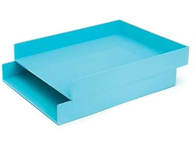 Poppin Front Loading Letter Trays, Aqua, 2/Pack (100220)