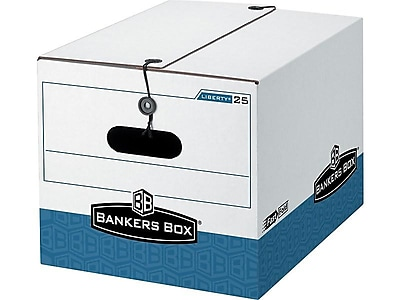 Bankers Box Stor/File Medium-Duty Corrugated Boxes, Letter/Legal Size, White/Blue, 12/Carton (00025)