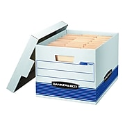Bankers Box® Stor/File Medium-Duty FastFold File Storage Boxes, Lift-Off Lid, Letter/Legal Size, White/Blue, 12/Carton (00789)