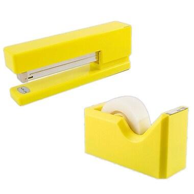 JAM Paper - Ensemble de travail et de bureau, agrafeuse et dévidoir à ruban, jaune