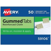 "Avery Gummed Tabs with Reinforced Cloth, 1/2"" ext., Gray, 50/Box (59106)"